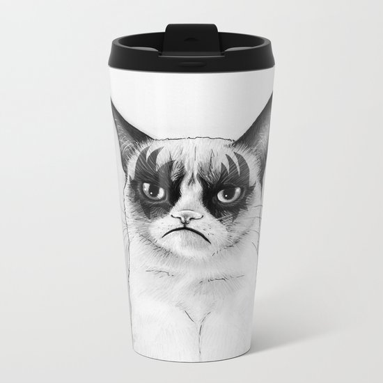 Grumpy Simmons Cat Whimsical Funny Animal Music Metal Travel Mug