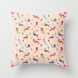 Seaside Mermaids - Peach Throw Pillow