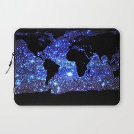 world Map Blue Swirl Galaxy Sparkle Laptop Sleeve