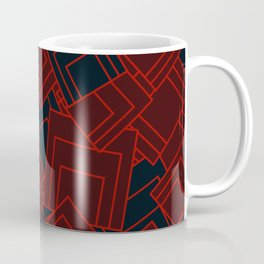 Abstract geometric red and dark blue squares Coffee Mug