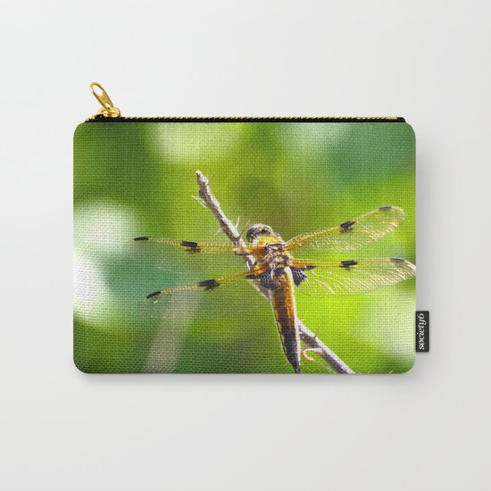 Dragonfly On A Branch Of A Rose Carry-All Pouch