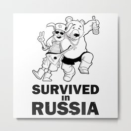 """I Survived in Russia"" Funny Monochrome Sticker with Cartoon Hangover Tourist and Bear Metal Print"