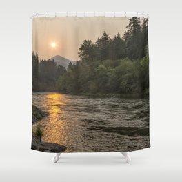 Fire Sunrise on McKenzie River Shower Curtain