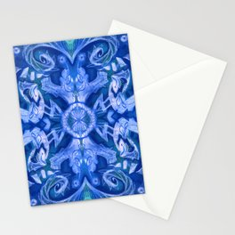 Curves & Lotuses, Bohemian Arabesque, Royal Blue White Stationery Cards