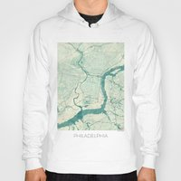 philadelphia Hoodies featuring Philadelphia Map Blue Vintage by City Art Posters