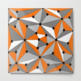 Abstract geometric pattern - orange, gray, black and white. Metal Print