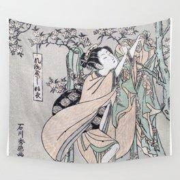 Fūryū yastushi hagoromo Japanese Ukiyo-e cherry blossom Wall Tapestry