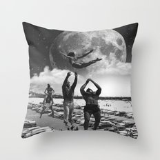 catch her black and white Throw Pillow