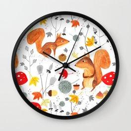 Pattern #64 - Woodland squirrels Wall Clock