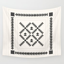 Black and White Quilt Block Wall Tapestry
