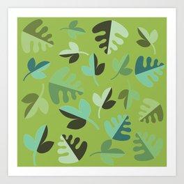 Shades of Green Leaves Art Print