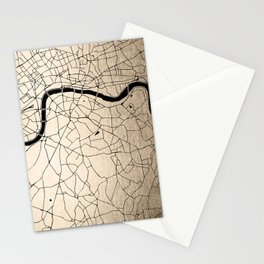 London Gold on Black Street Map II Stationery Cards