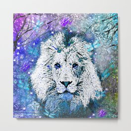 LION WHITE STARRY NIGHT Metal Print
