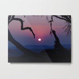 African Sunset - Blue Metal Print