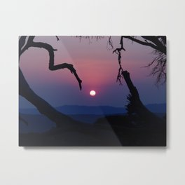 African Sunset - Blue Metal Print