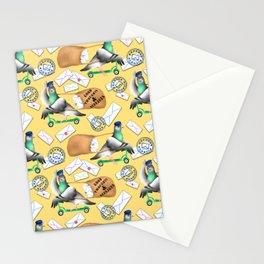 Pigeons Express (Yellow Background) Stationery Cards