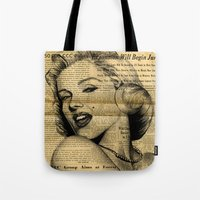 newspaper Tote Bags featuring Marilyn newspaper by Teo Designs