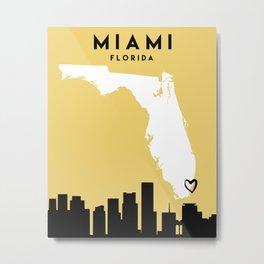 MIAMI FLORIDA LOVE CITY SILHOUETTE SKYLINE ART Metal Print