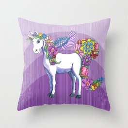 Magical Unicorn in a Hazy Purple Sunset Throw Pillow