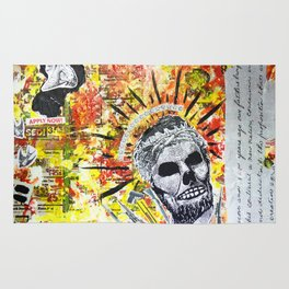 Truth the Fallen King Mixed-Media Collage Rug