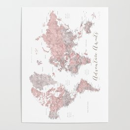 World map in dusty pink & grey watercolor, Adventure awaits Poster