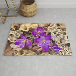 Crocuses and Druzy Quartz Rug