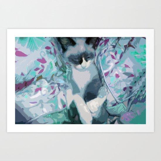 Nestled Kitten in Comforter Cloud Art Print