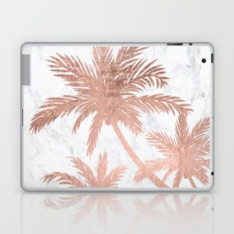 Tropical simple rose gold palm trees white marble Laptop & iPad Skin