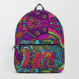 Vintage Cool and Colorful Bohemian Boho Hippie Hanging Blacklight Style Pattern Backpack