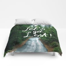 Let's get Lost! - Quote Typography Green Forest Comforters