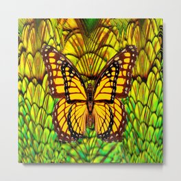 FANTASY YELLOW MONARCH BUTTERFLY LIME COLOR Metal Print