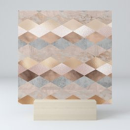 Copper and Blush Rose Gold Marble Argyle Mini Art Print