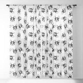 French bulldog pattern Sheer Curtain