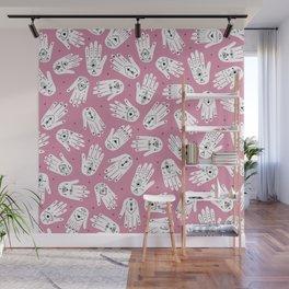 Indian summer bohemian hamsa hand of fatima pattern pink Wall Mural