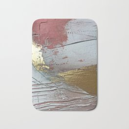 Darling [2]: a minimal, abstract mixed-media piece in pink, white, and gold by Alyssa Hamilton Art Bath Mat