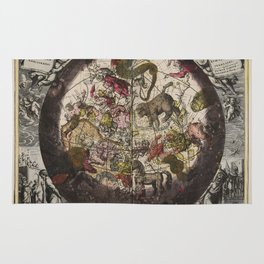 Keller's Harmonia Macrocosmica - Northern Celestial and Terrestrial Hemispheres 1708 Rug