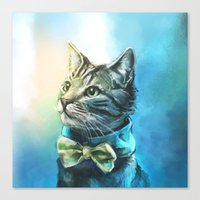 kitty Canvas Prints featuring Handsome Cat by Alice X. Zhang