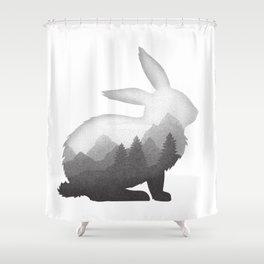 Bunny Rabbit Hare Double Exposure Surreal Wildlife Animal Shower Curtain