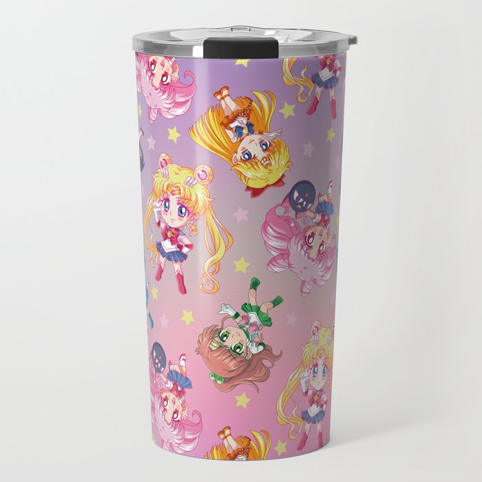 Chibis Crystal Pattern Travel Mug