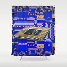 processor cpu board circuits Shower Curtain
