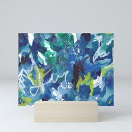 Blue Abstract Mixed-Media: Water Mini Art Print