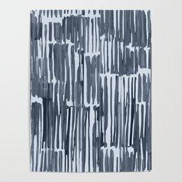 Simply Bamboo Brushstroke Indigo Blue on Sky Blue Poster