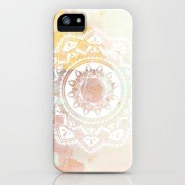 Warrior white mandala on pink iPhone Case