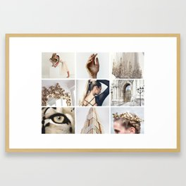 White and Gold Minimalistic Moodboard Framed Art Print
