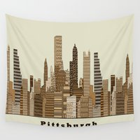 pittsburgh Wall Tapestries featuring Pittsburgh skyline vintage by bri.buckley