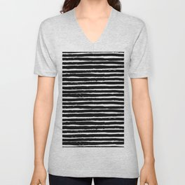Black white abstract simple stripes motif Unisex V-Neck
