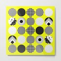 Eclectic Geometric - Black, white and yellow by printpix