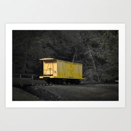 Eleutherian Mills Yellow Boxcar Powder Keg Transport Vintage Rolling Stock Art Print