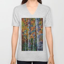 Birch trees - 1 Unisex V-Neck