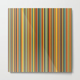 Retro stripes in vintage colors (mid century modern; 60s and 70s) Metal Print